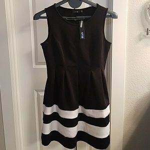 Black and fit fit and flare dress